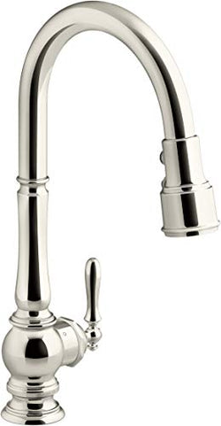 KOHLER K-29709-WB-SN Artifacts Kitchen Sink Faucet, Vibrant Polished Nickel