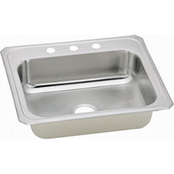 Elkay CR25213 20 Gauge Stainless Steel 25 Inch x 21.25 Inch x 6.875 Inch single Bowl Top Mount Kitchen Sink 3Hole