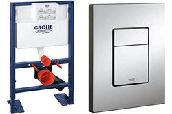 GROHE Wall-Mount WC-Element Rapid SL BH 0,82, and Skate Cosmopolitan Actuation Plate, Chrome