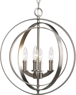 Progress Lighting P3827-126 4-60W CAND Sphere Foyer Lant, 16-Inch Diameter x 18-3/8-Inch Height, Burnished Silver