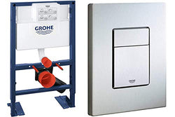 GROHE Wall-Mount WC-Element Rapid SL BH 0,82, and Cosmopolitan Actuation Plate, Stainless Steel