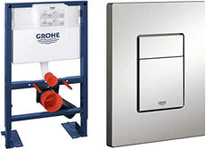GROHE Wall-Mount WC-Element Rapid SL BH 0,82, and Cosmopolitan Actuation Plate, Matte Chrome
