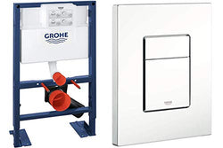 GROHE Wall-Mount WC-Element Rapid SL BH 0,82, and Skate Cosmopolitan Actuation Plate, Alpine White