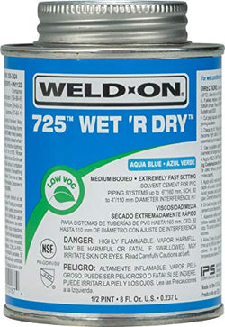Weld-On 10167 725 Wet 'R Dry Medium-Bodied Professional Industrial PVC Cement - Extremely Fast-Setting and Low-VOC, Aqua Blue, 1/2 Pint (8 fl oz)
