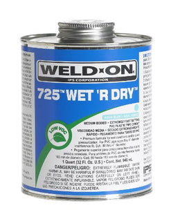 Weld-On 10166 725 Wet 'R Dry Medium-Bodied Professional Industrial PVC Cement - Extremely Fast-Setting and Low-VOC, Aqua Blue, 1 Pint (16 fl oz)
