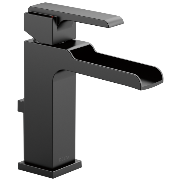 Delta Ara 568LF-BLMPU Single Handle Channel Bathroom Faucet Matte Black-Lavatory-HomePlumbing