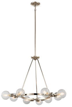 Kichler Nine Light Chandelier 42474PN