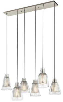Kichler Six Light Linear Chandelier 43628NI
