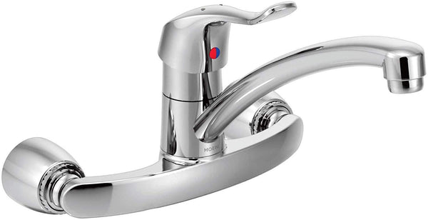 Moen 8713 Commercial M-DURA One-Handle Wall Mount Kitchen Faucet, 1.5 GPM, Chrome-Kitchen Sink Faucets-HomePlumbing