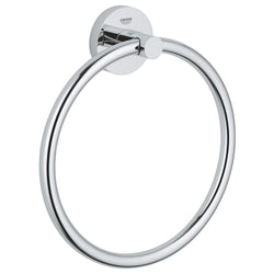 GROHE 40365001 Essentials Towel Ring, Chrome 8 Inch