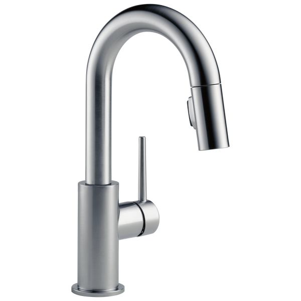 Delta Trinsic 9959-AR-DST Single Handle Pull-Down Bar / Prep Faucet Arctic Stainless-Kitchen-HomePlumbing