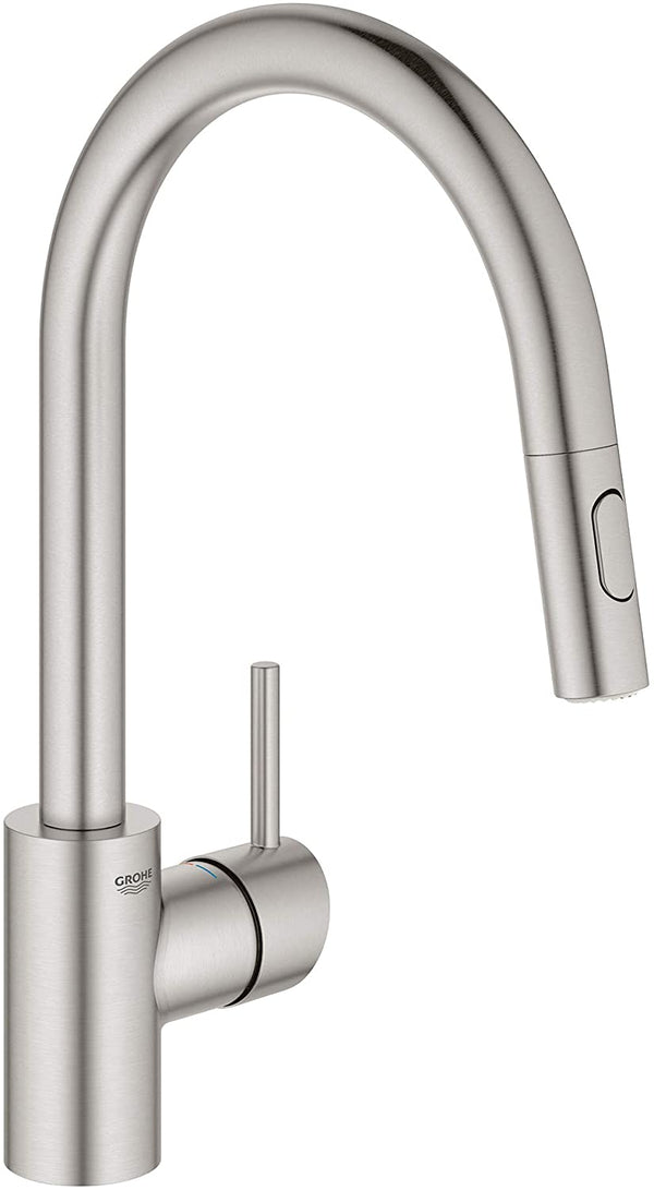 Grohe 32665DC3 Concetto Dual Spray Pull-Down Kitchen Faucet, SuperSteel Infinity Finish-Kitchen Sink Faucets-HomePlumbing