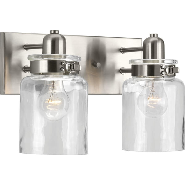 Progress Lighting P300046-009 Calhoun Collection Two-Light Bath & Vanity, Brushed Nickel-Two-Light Sconce-HomePlumbing
