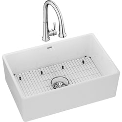 "Elkay Fireclay 30"" x 19-15/16"" x 9-1/8"", Single Bowl Farmhouse Sink Kit with Faucet, White"