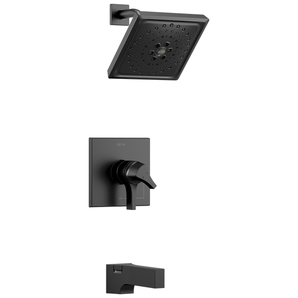 Delta Zura T17474-BL Monitor 17 Series H2Okinetic Tub and Shower Trim Matte Black-Tub / Shower-HomePlumbing