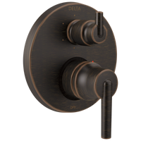 Delta Trinsic T24959-RB Contemporary Two Handle Monitor 14 Series Valve Trim with 6-Setting Integrated Diverter Venetian Bronze-Tub / Shower-HomePlumbing