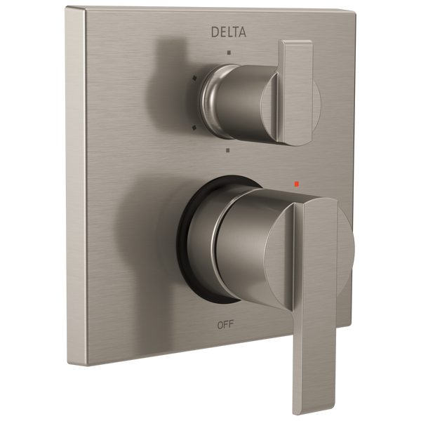 Delta Ara T24967-SS Angular Modern Monitor 14 Series Valve Trim with 6-Setting Integrated Diverter Stainless-Tub / Shower-HomePlumbing
