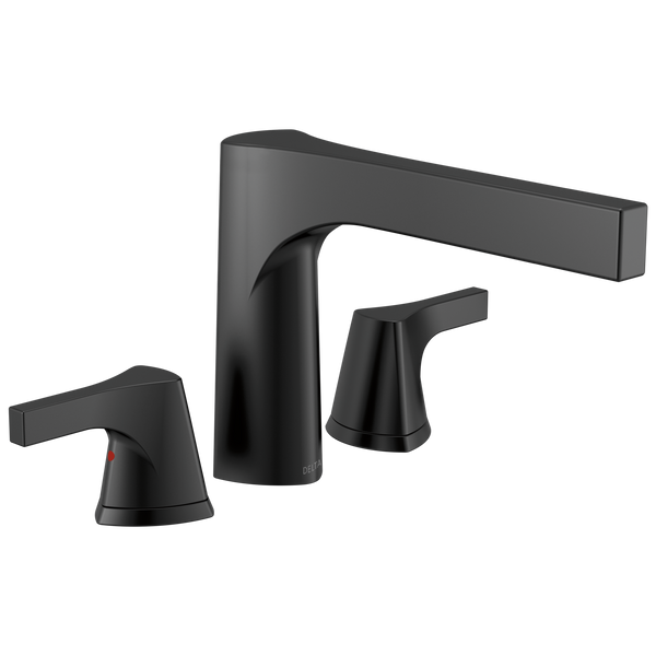 Delta Zura T2774-BL 3-hole Roman Tub Trim Matte Black-Tub Filler-HomePlumbing