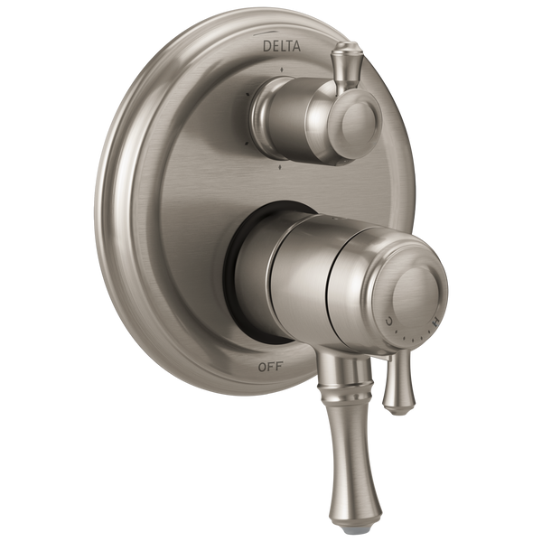 Delta Cassidy T27997-SS Traditional 2-Handle Monitor 17 Series Valve Trim with 6-Setting Integrated Diverter Stainless-Tub / Shower-HomePlumbing