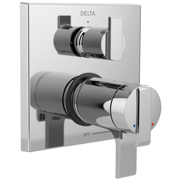Delta Ara T27T867 Angular Modern TempAssure 17T Series Valve Trim with 3-Setting Integrated Diverter Chrome-Tub / Shower-HomePlumbing