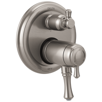 Delta Cassidy T27T997-SS Traditional 2-Handle TempAssure 17T Series Valve Trim with 6-Setting Integrated Diverter Stainless-Tub / Shower-HomePlumbing
