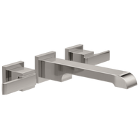 Delta Ara T3567LF-SSWL Two Handle Wall Mount Bathroom Faucet Trim Stainless-Lavatory-HomePlumbing