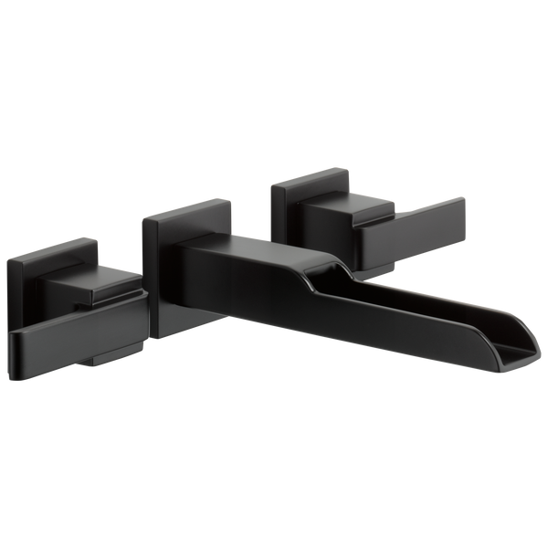 Delta Ara T3568LF-BLWL Two Handle Wall Mount Channel Bathroom Faucet Trim Matte Black-Lavatory-HomePlumbing