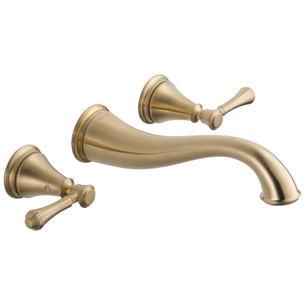 Delta Cassidy T3597LF-CZWL Two Handle Wall Mount Bathroom Faucet Trim Champagne Bronze-Lavatory-HomePlumbing