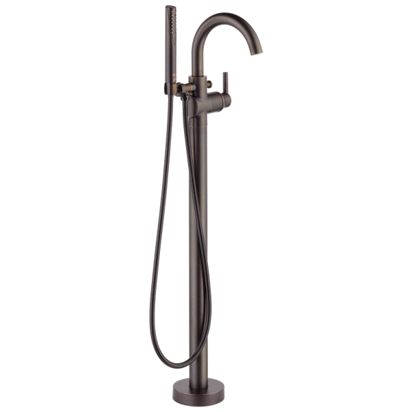 Delta Trinsic T4759-RBFL Contemporary Floor Mount Tub Filler Trim Venetian Bronze-Tub Filler-HomePlumbing