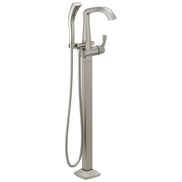 Delta Stryke T4776-SSFL Freestanding Tub Filler Trim Stainless-Tub Filler-HomePlumbing