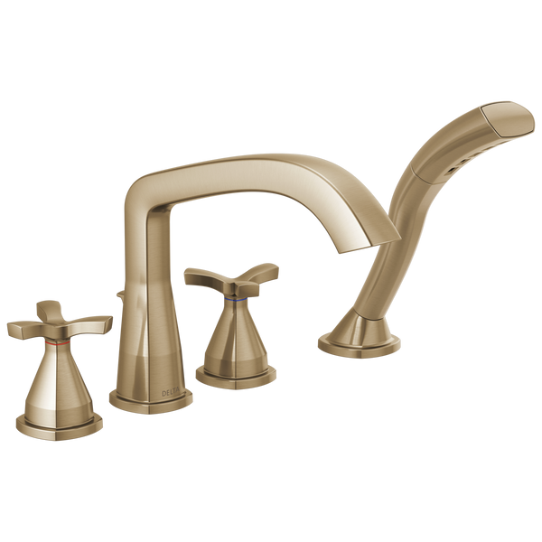 Delta Stryke T47766-CZ Four Hole Roman Tub Trim Champagne Bronze-Tub Filler-HomePlumbing