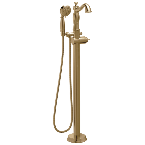 Delta Cassidy T4797-CZFL-LHP Traditional Floor Mount Tub Filler Trim - Less Handle Champagne Bronze-Tub Filler-HomePlumbing