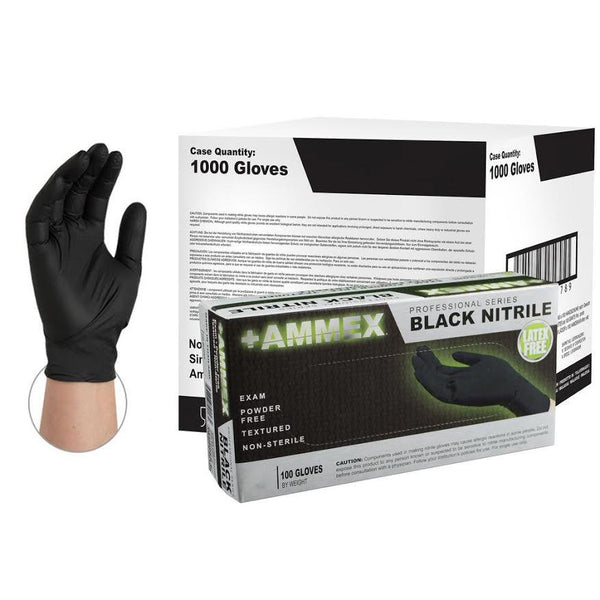 Ammex Nitrile HD, 100 Count Black (M)-Nitrile Gloves-HomePlumbing