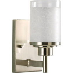 P2959-09 PROGRESS LIGHTING Alexa Collection 1-Light Brushed Nickel Bath Sconce with White Linen Glass Shade