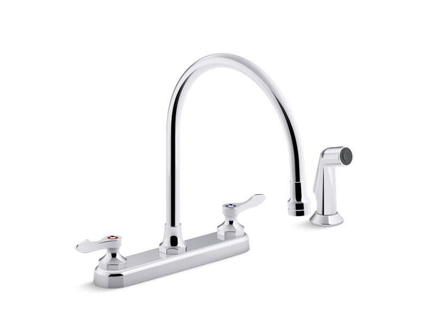 "Kohler 810T71-4AFA-CP Triton Bowe 1.8 gpm kitchen sink faucet with 9-5/16"" gooseneck spout, matching finish sidespray, aerated flow and wristblade handles"
