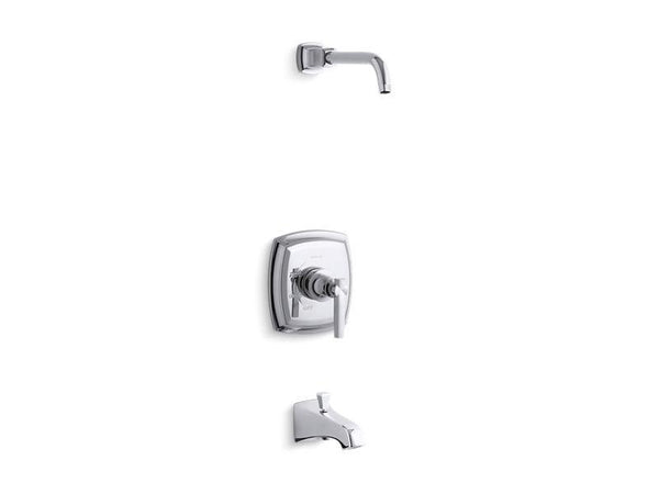 Kohler TLS16225-4-CP Margaux Rite-Temp bath and shower valve trim with lever handle and NPT spout, less showerhead-Tub Shower Trim-HomePlumbing