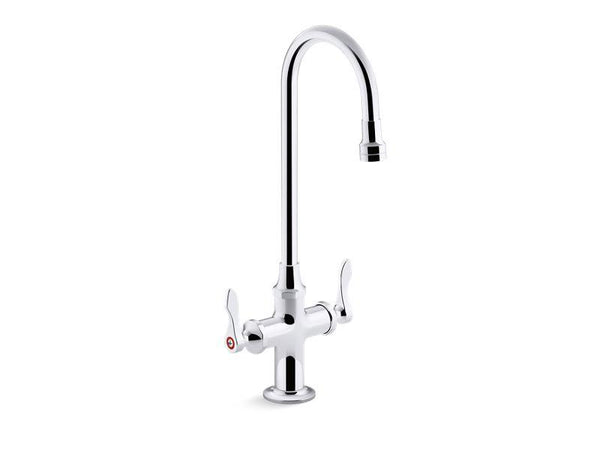 Kohler 100T70-4ANL-CP Triton Bowe 0.5 gpm monoblock gooseneck bathroom sink faucet with laminar flow and lever handles, drain not included