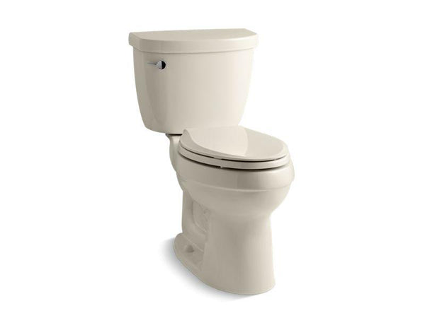 Kohler 3609-T-47 Cimarron® Comfort Height® two-piece elongated 1.28 gpf toilet with AquaPiston® flushing technology, left-hand trip lever and tank cover locks, seat not included-Toilets-HomePlumbing