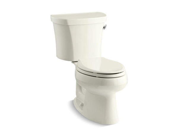 Kohler 3948-TR-96 Wellworth two-piece elongated 1.28 gpf toilet with Class Five flush technology, right-hand trip lever and tank cover locks-Toilets-HomePlumbing