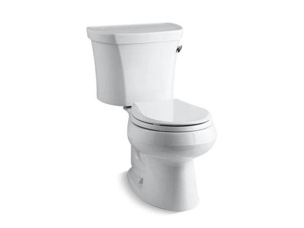 Kohler 3947-RZ-0 Wellworth® two-piece round-front 1.28 gpf toilet with Class Five® flush technology, right-hand trip lever, Insuliner® tank liner and tank cover locks, seat not included-Toilets-HomePlumbing
