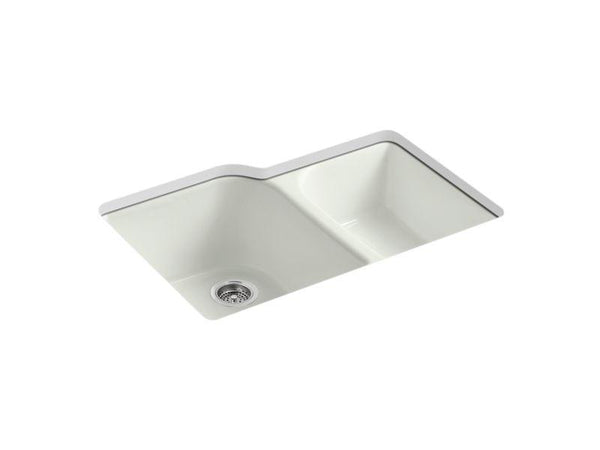Kohler 5931-4U-NY Executive Chef(TM) 33 x 22 x 10-5/8 under-mount large/medium, high/low double-bowl kitchen sink with 4 oversize faucet holes-Kitchen Sinks-HomePlumbing