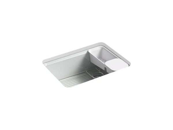 "Kohler 8668-5UA2-95 Riverby 27"" x 22"" x 9-5/8"" under-mount single-bowl kitchen sink with accessories and 5 oversized faucet holes-Kitchen Sinks-HomePlumbing"