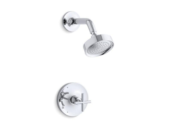 Kohler TS14422-3-CP Purist Rite-Temp shower trim set with cross handle, valve not included-Shower Trim-HomePlumbing