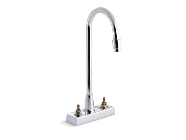 Kohler 7305-KE-CP Triton centerset commercial bathroom sink faucet with gooseneck spout and vandal-resistant aerator, requires handles, drain not included-Commercial Faucets-HomePlumbing
