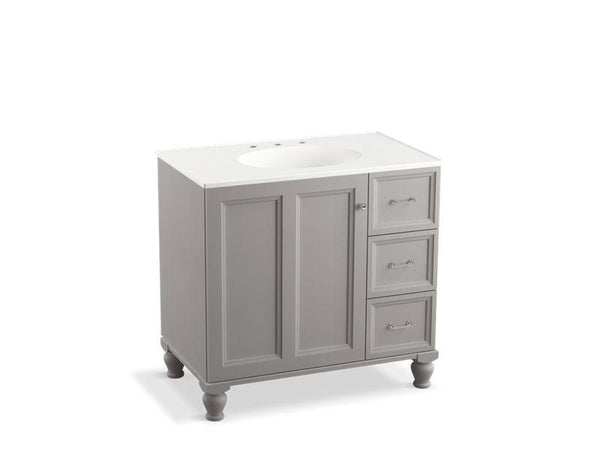 "Kohler 99520-LGR-1WT Damask 36"" bathroom vanity cabinet with furniture legs, 1 door and 3 drawers on right-Vanities-HomePlumbing"