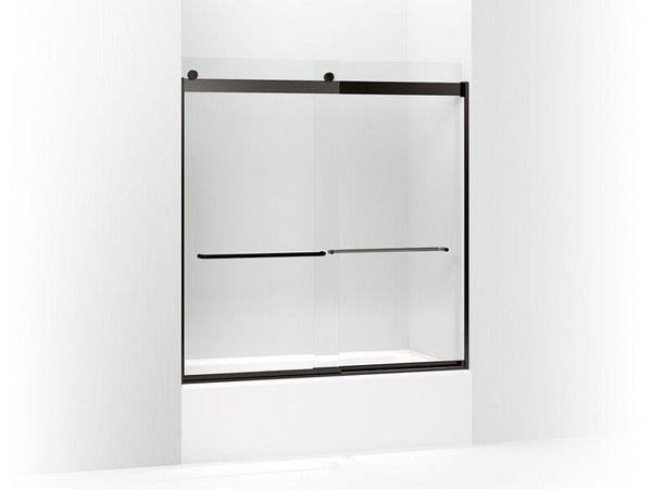 "Kohler 706004-L-ABZ Levity sliding bath door, 62"" H x 56-5/8"" - 59-5/8"" W, with 1/4"" thick Crystal Clear glass and towel bars-Shower Doors-HomePlumbing"