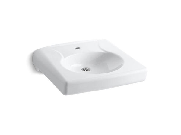 Kohler 1997-1N-0 Brenham(TM) wall-mounted or concealed carrier arm mounted commercial bathroom sink with single faucet hole and no overflow-Sinks-HomePlumbing