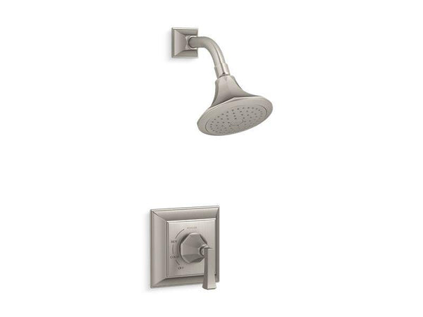 Kohler TS462-4V-BN Memoirs Stately Rite-Temp shower valve trim with Deco lever handle and 2.5 gpm showerhead-Shower Trim-HomePlumbing