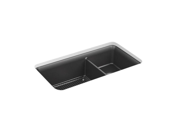 "Kohler 8204-CM7 Cairn 33-1/2"" x 18-5/16"" x 10-1/8"" Neoroc under-mount large/medium double-bowl kitchen sink with sink rack - HomePlumbing"