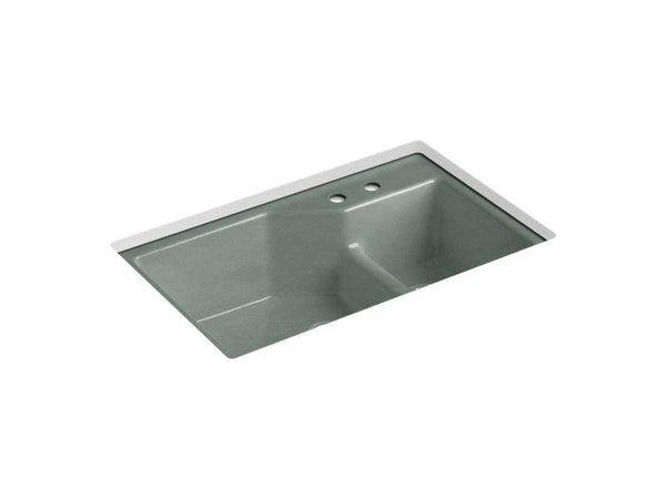 Kohler 6411-2-FT Indio 33 x 21-1/8 x 9-3/4 under-mount Smart Divide large/small double-bowl kitchen sink with 2 faucet holes-Kitchen Sinks-HomePlumbing